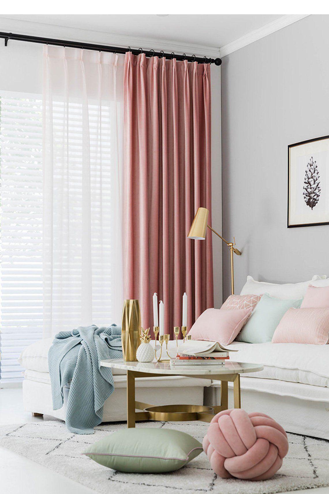 Pair Of Velvet Rose Pink Curtains Velvety Dusty Pink Drapery Etsy In 2020 Pink Curtains Pink Velvet Curtains Curtains Living Room #pink #curtains #for #living #room