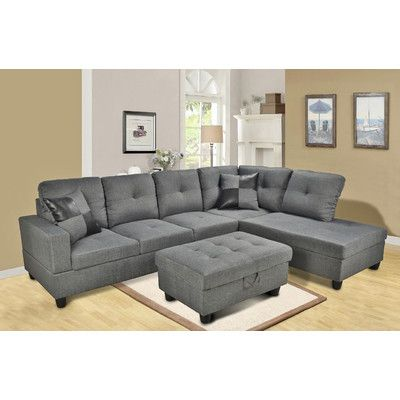 Andover Mills Russ Sectional Orientation Right Hand Facing Upholstery Gray  sc 1 st  Pinterest : russ sofa bed with chaise - Sectionals, Sofas & Couches