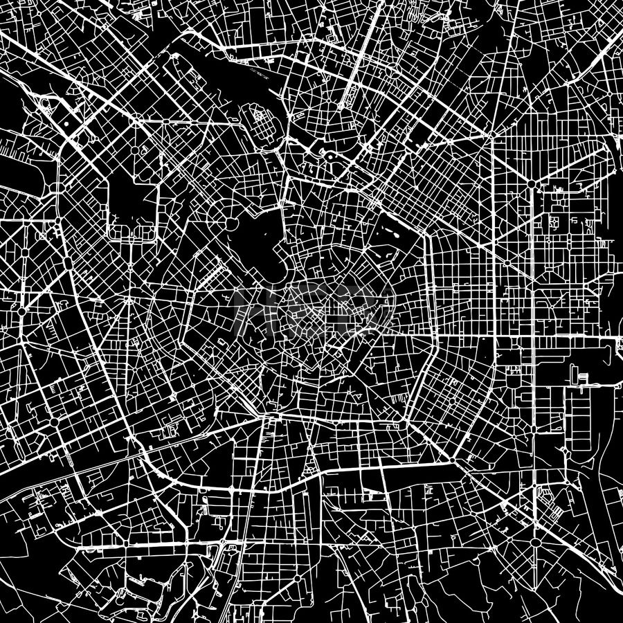 Milan (Milano), Italy, downtown map, dark | Maps Vector Downloads ...