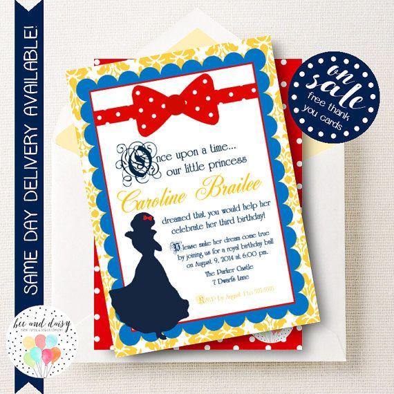 snow white birthday invitation snow