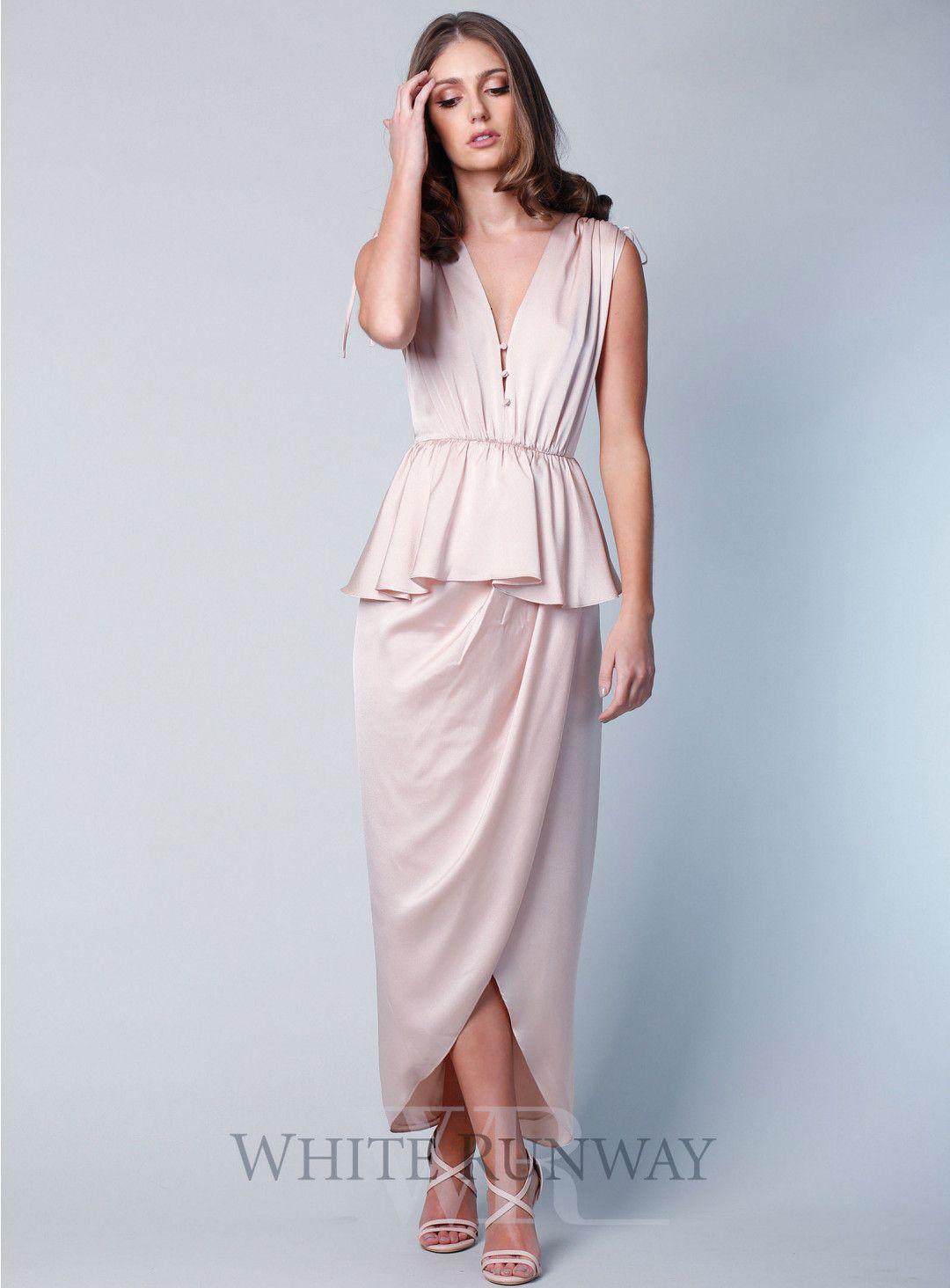 Beach dresses for weddings  Calypso Ruched Peplum Maxi  Champagne Bridesmaids  Pinterest