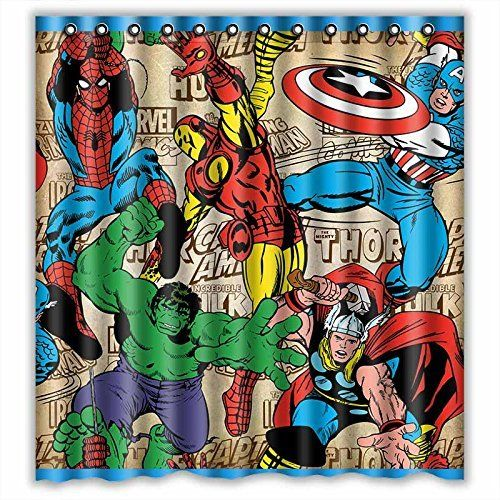 Custom Marvel Comics Superheroes Waterproof Bathroom Shower Curtain Polyester Fabric Showe Superhero Shower Curtain Superhero Bathroom Shower Curtain Polyester