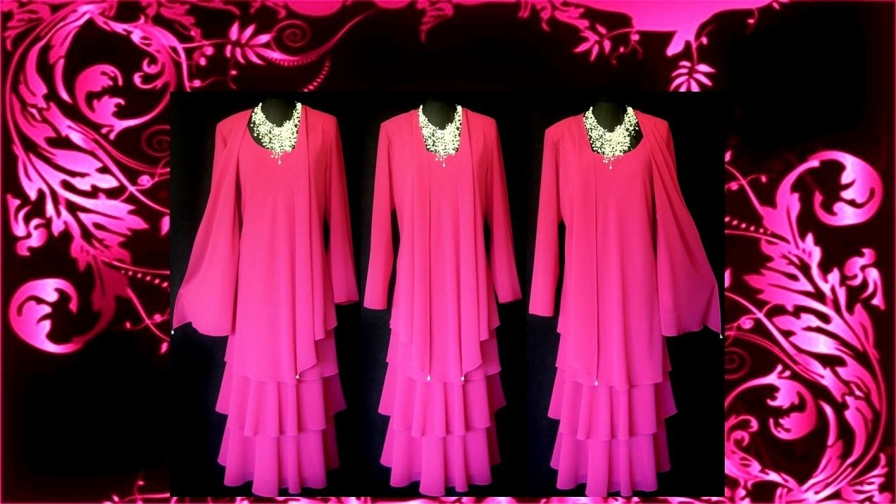 Wedding dress and jacket for guest  A stunning CATTIVA NEW YORK Bright Pink Layered Dress and Jacket