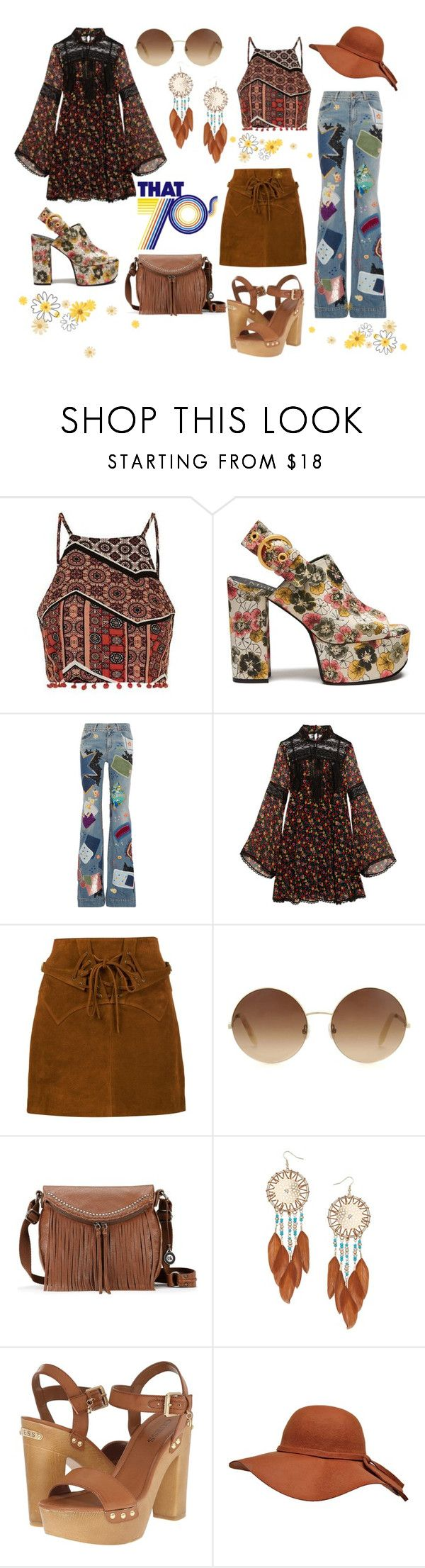 """""""70's festival inspired"""" by lizzynupa ❤ liked on Polyvore featuring Topshop, Mulberry, Roberto Cavalli, Anna Sui, Faith Connexion, Victoria Beckham, The Sak, Miss Selfridge and GUESS"""