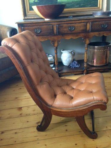 Fine Leather Slipper Chair Nursing Chair Chesterfield Style Tan Creativecarmelina Interior Chair Design Creativecarmelinacom