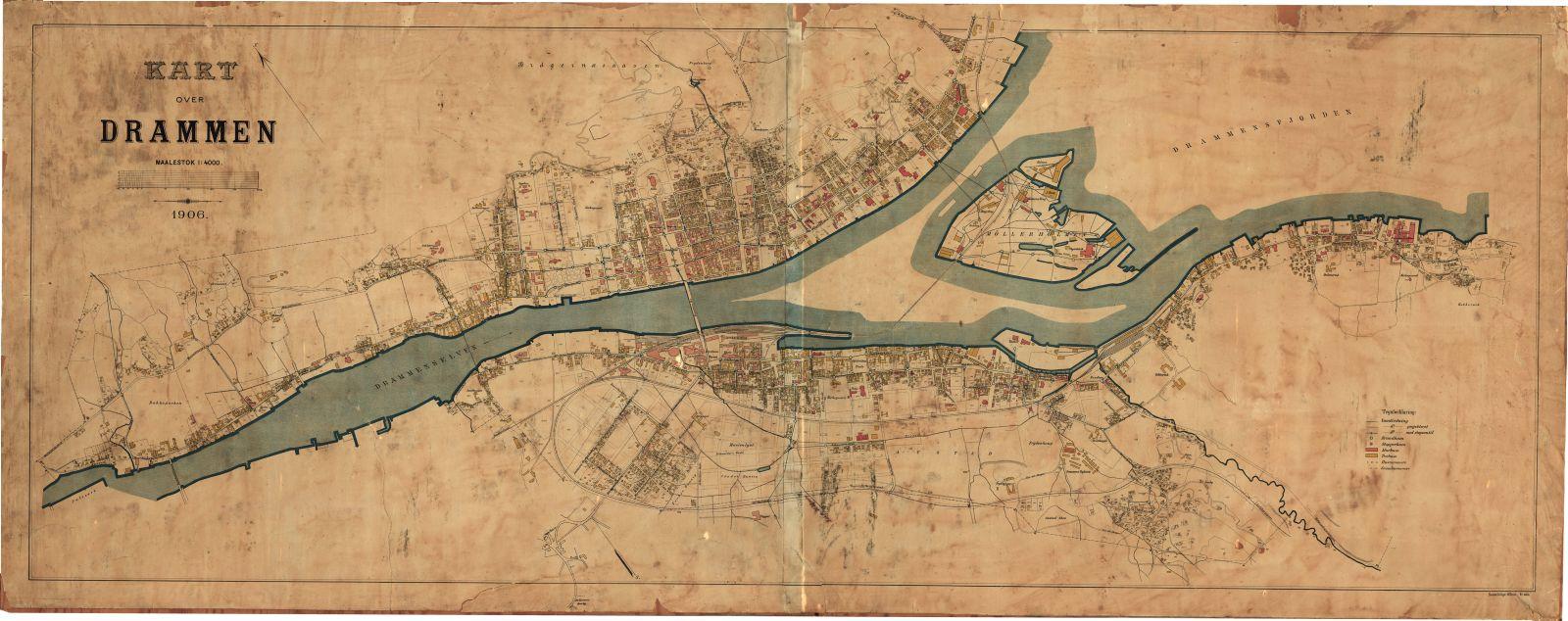 gangveier oslo kart Kart over Drammen, 1906   Historiske Drammen (Historical Drammen  gangveier oslo kart