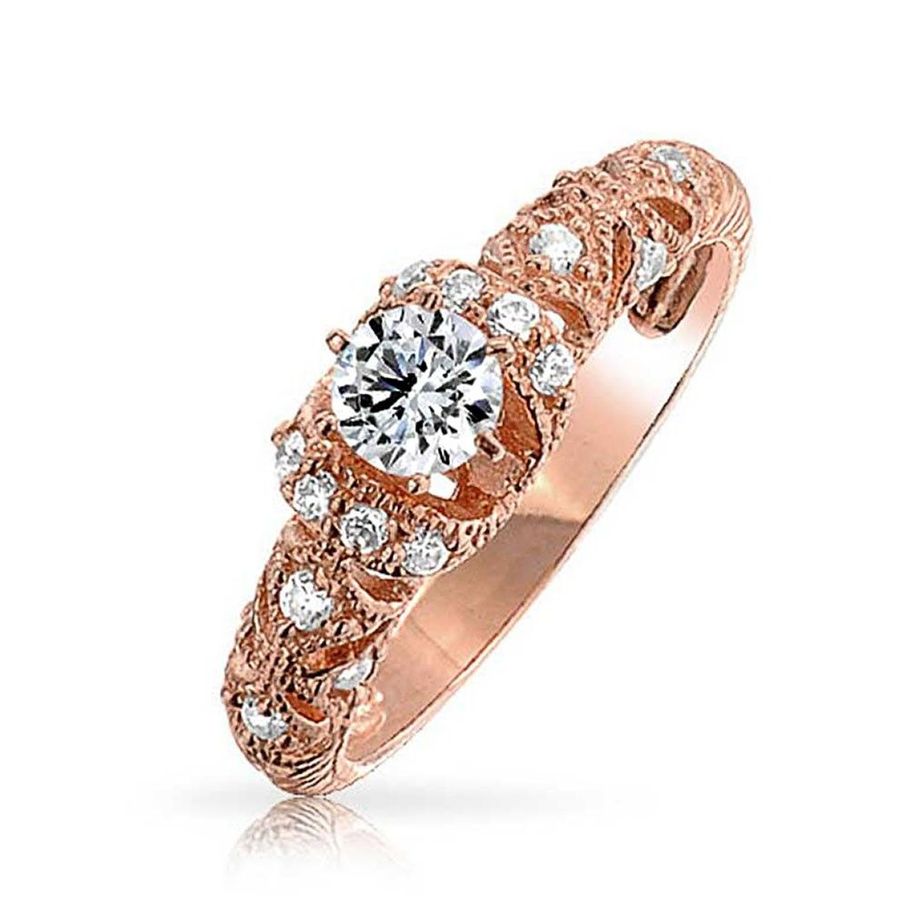 Rose Gold And Silver Enement Rings | Bling Jewelry Filigree Art Deco Cz Rose Gold Vermeil Engagement Ring