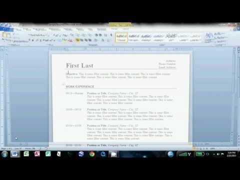 How to Make an Easy Resume in Microsoft Word 2010 Job Tips - how to write a resume using microsoft word 2010