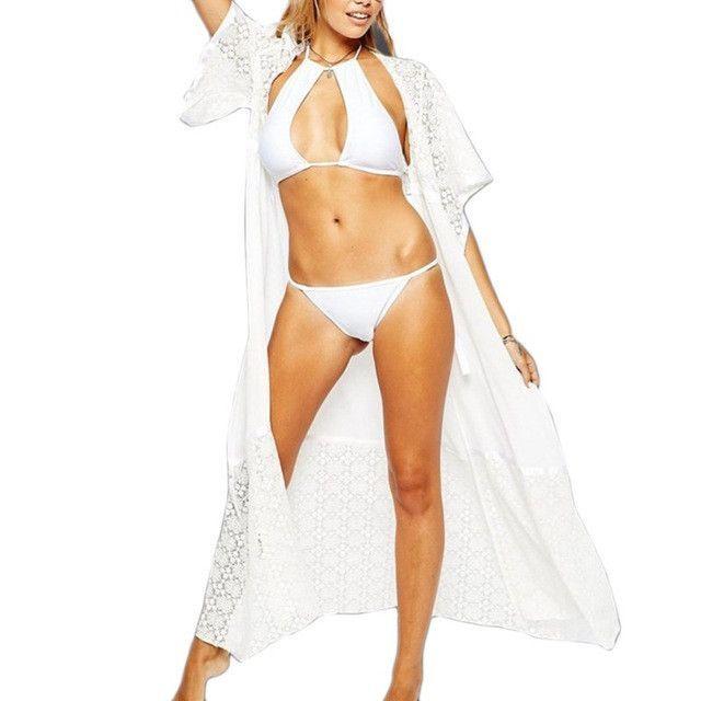 54fce1a847b5 Lace Long Women Beach Hot Sale Super Top Selling 2 Colors Swim Suit Cover  Up J2