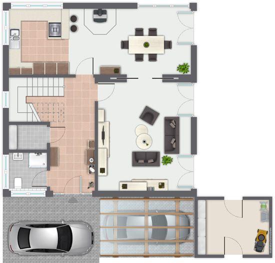 Fertighaus grundrisse doppelhaus  Fertighaus Marienstraße - Erdgeschoss - Gussek Haus | Haus ...