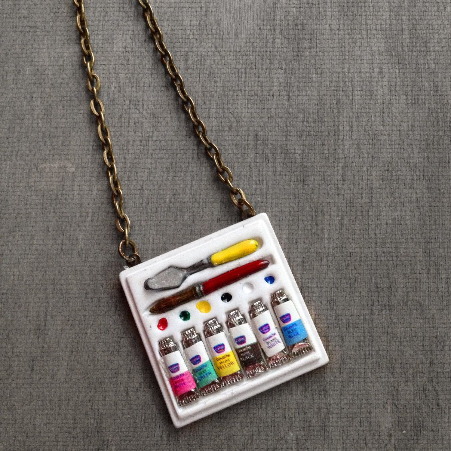 Paint Palette Artist Necklace Painting Paint Board Paint Box
