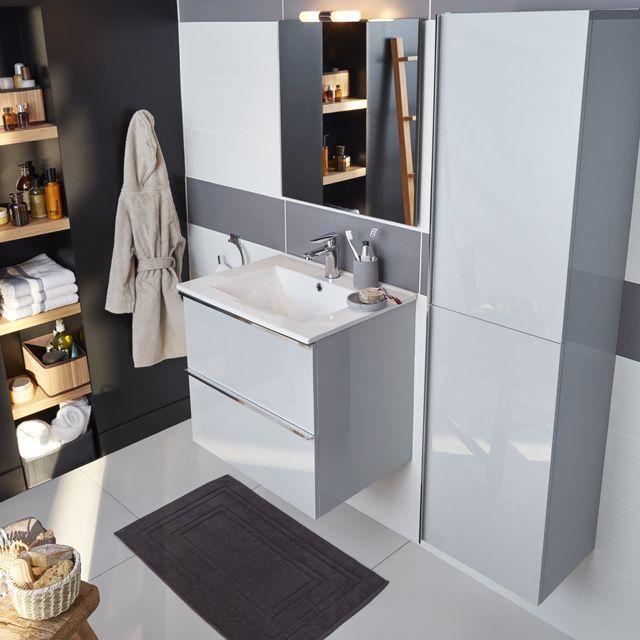Meuble de salle de bains gris 60 cm Ohla - CASTORAMA StaMore