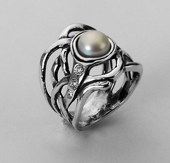 62f38efa0 Shablool Didae Israel Silver Ring, Pearl Ring, Black Pearl, Sterling Silver  Ring, Jewelry