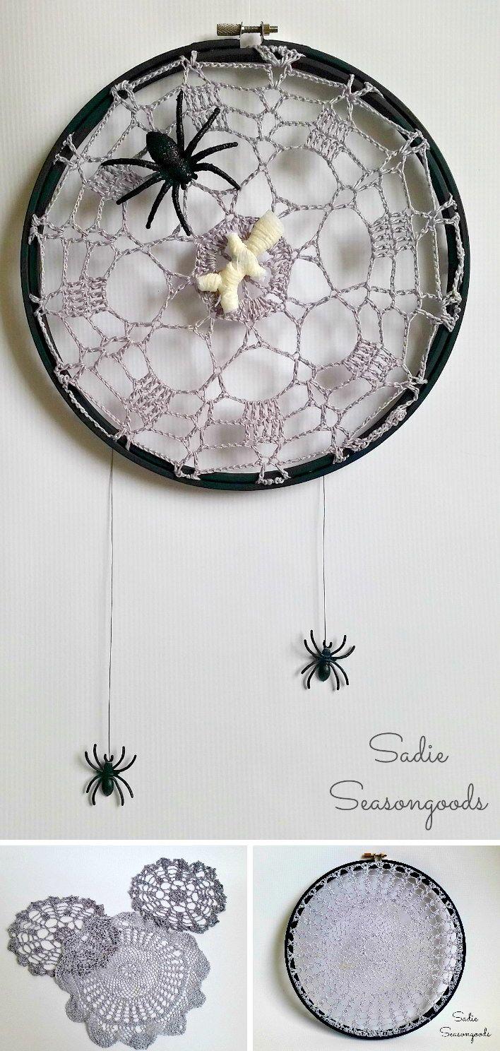 Creepy Crawly Crochet Spider Web Doilies.