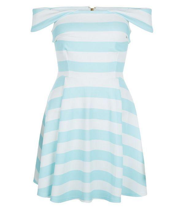 Womens Stripe Bardot Party Dress New Look eKDUEneIK