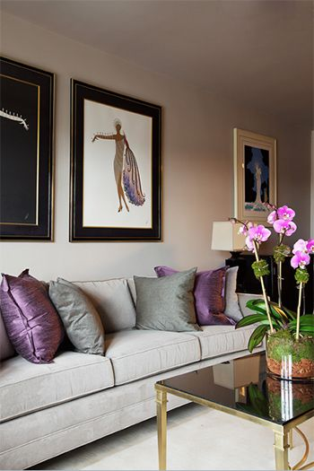 Living Room With Deep Purple Accent Pillows Sherwin Williams Wood Violet