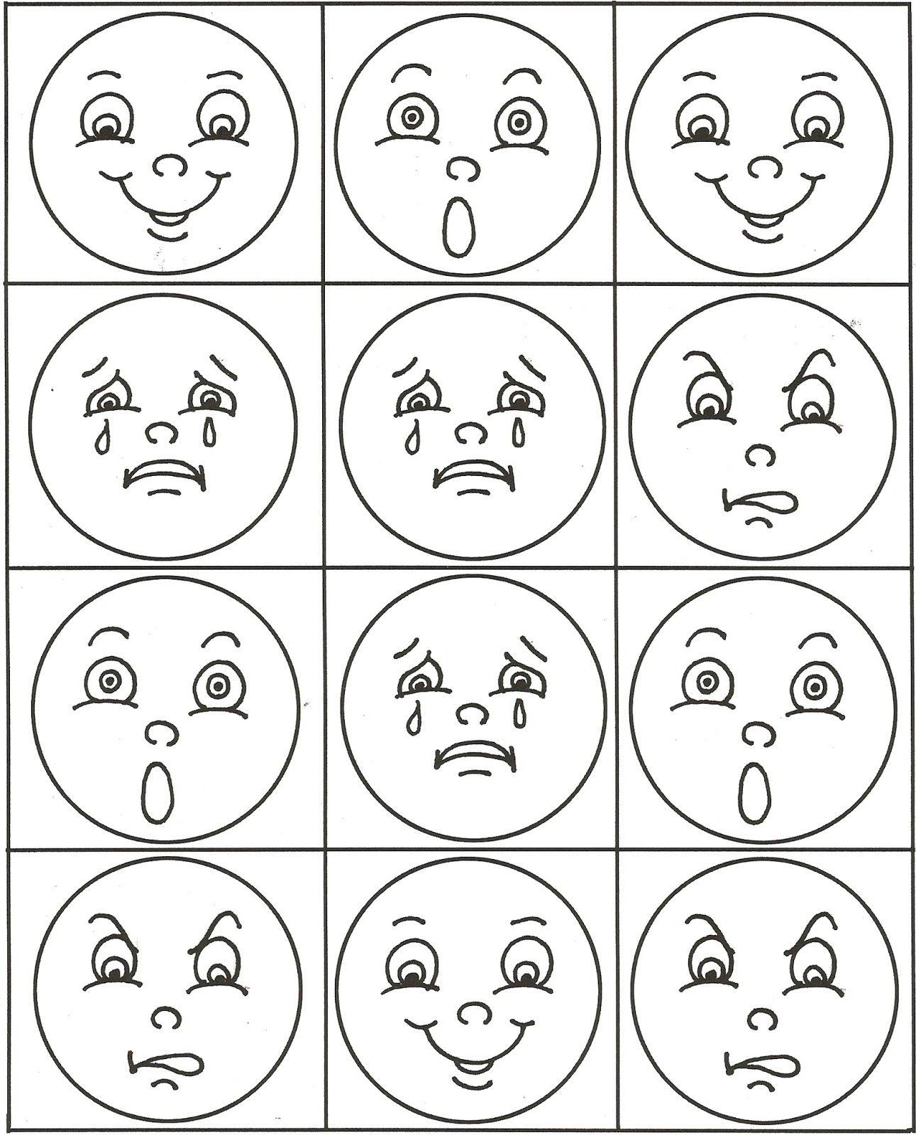 Шаблоны эмоций для детей картинки
