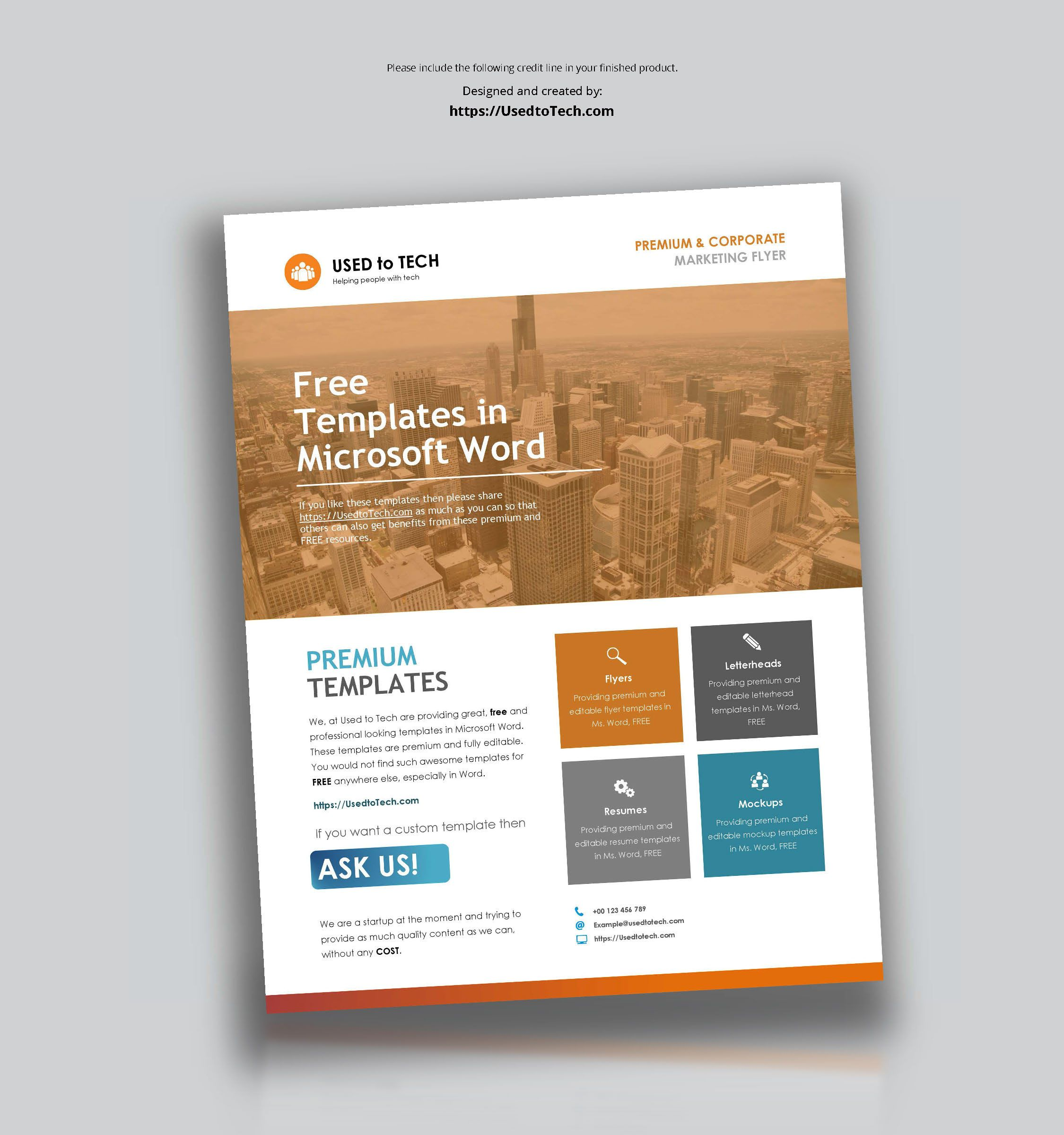 Corporate Flyer Design In Microsoft Word Free Used To Tech Throughout Free Business Brochure Design Template Free Brochure Template Business Flyer Templates Free poster templates for word