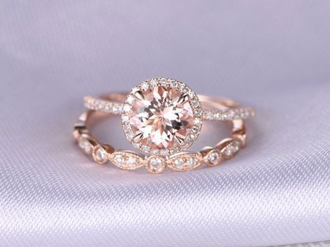 Morganite Engagement Ring Wedding Ring Set 14k Rose Gold Art Deco Diamond Matching Band 7mm Round Stone Personalized For Her Custom Ring#14k #7mm #art #band #custom #deco #diamond #engagement #gold #matching #morganite #personalized #ring #rose #set #stone #wedding
