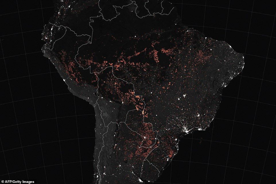 Nasa Photos Show Amazon Fires Light Up Night Across South America