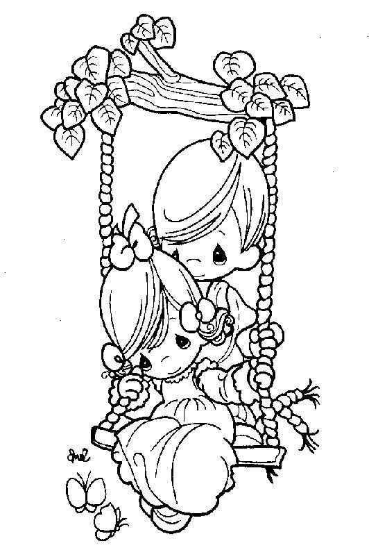 Precious Moments Coloring Page S Boy Pushing Girl On