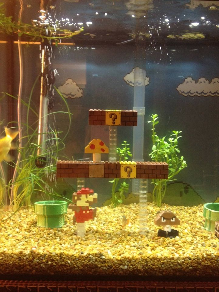 Awesome Super Mario Bros Inspired Fish Tank Lego Super Mario Aquarium Decorations Cool Fish Tanks
