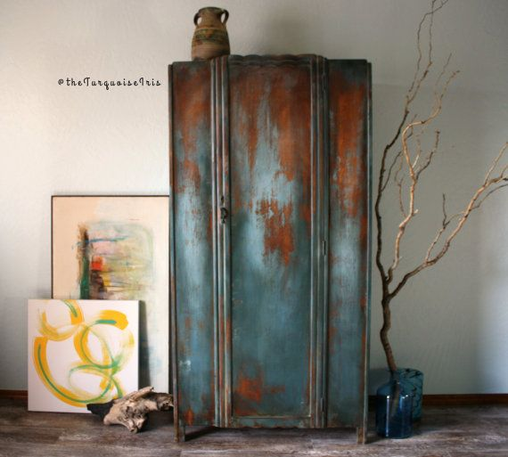 Hand Painted Rustic Antique Wardrobe Closet By