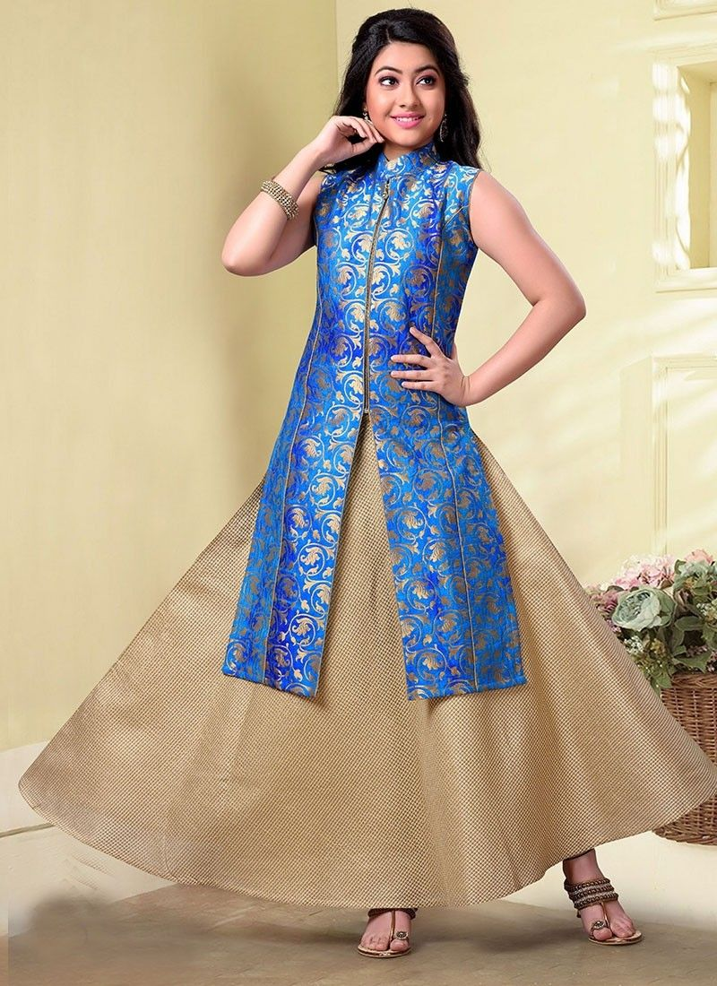 Image result for Turquoise  Blue brocade gown