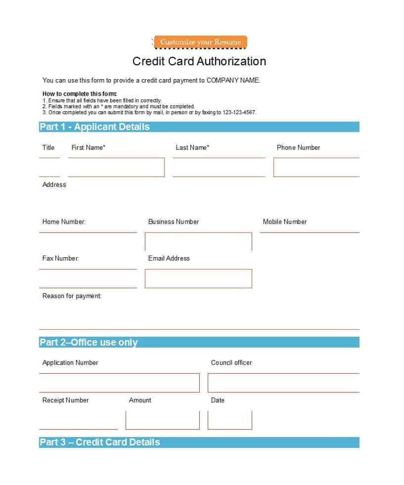 41 Credit Card Authorization Forms Templates Ready To Use With Credit Card Billing Authorization Form Te Credit Card Online Credit Card Payment Bill Template