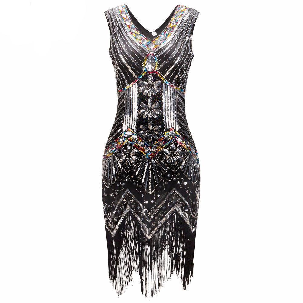 S great gatsby dress sequin beading v neck tassel flapper dress