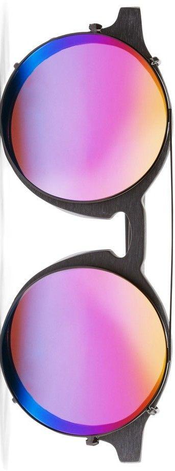 SUNDAY SOMEWHERE Matahari convertible round-frame matte-acetate mirrored sunglasses
