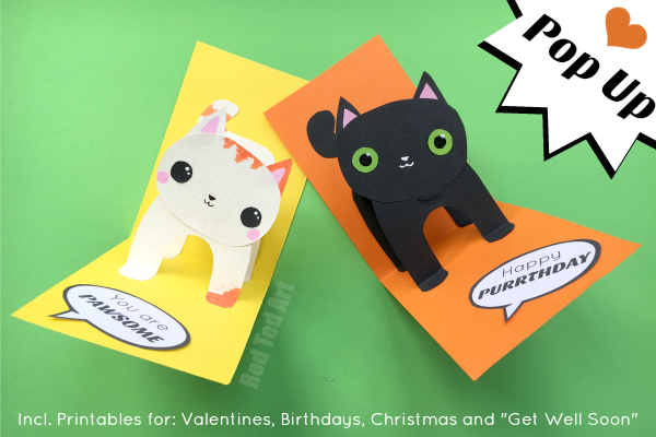 3d Cat Card Diy Red Ted Art Make Crafting With Kids Easy Fun Cat Birthday Card Kids Birthday Cards Pop Up Card Templates