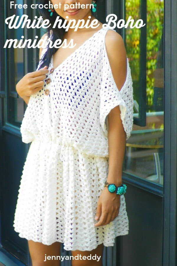 white hippie boho mini dress free crochet pattern beginner friendly, quick and easy with cotton yarn, #crochetclothes