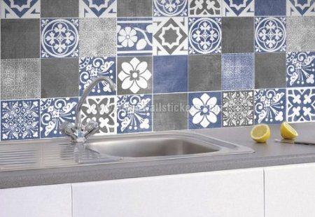 Wall Tile Stickers Vogue Blue Amazon Co Uk Kitchen Home Tile Decals Blue Tile Wall Blue Tiles