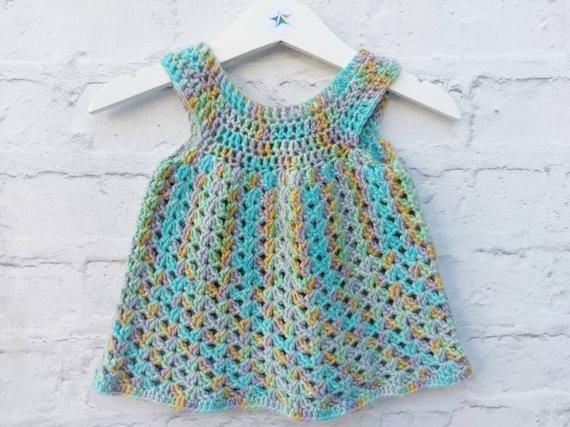 6-12m baby girls crocheted dress, ready to ship, OOAK sparkly party dress - [Layla dress]
