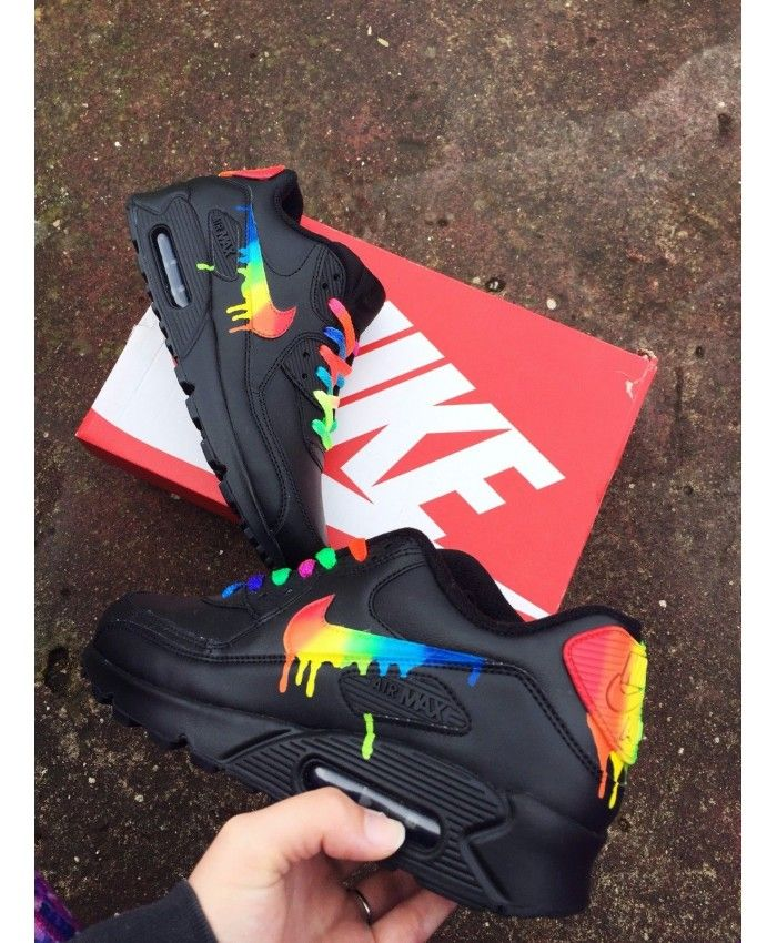 Cheap Nike Air Max 90 Candy Drip Rainbow Black Trainer Sale