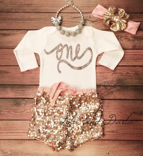 Girl 1st Birthday Outfit First Birthday Outfit Girl First Birthday Girl Outfit 1st Birthday Outfit Girl Sequin Shorts Birthday BF4