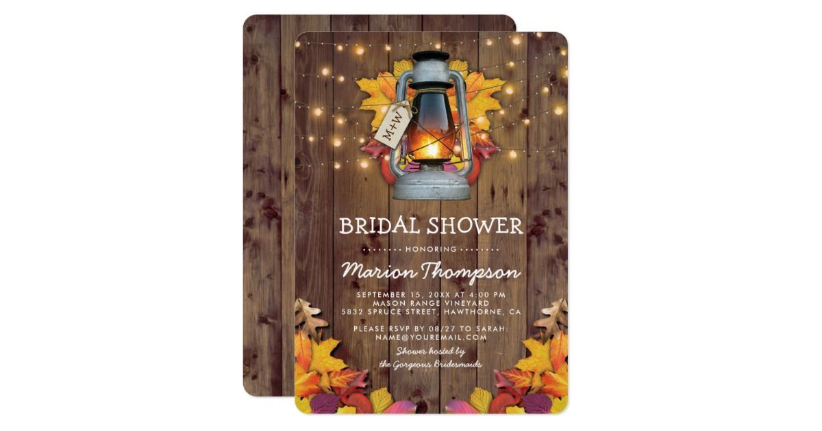 Rustic Fall String Lights Autumn Bridal Shower Card Template
