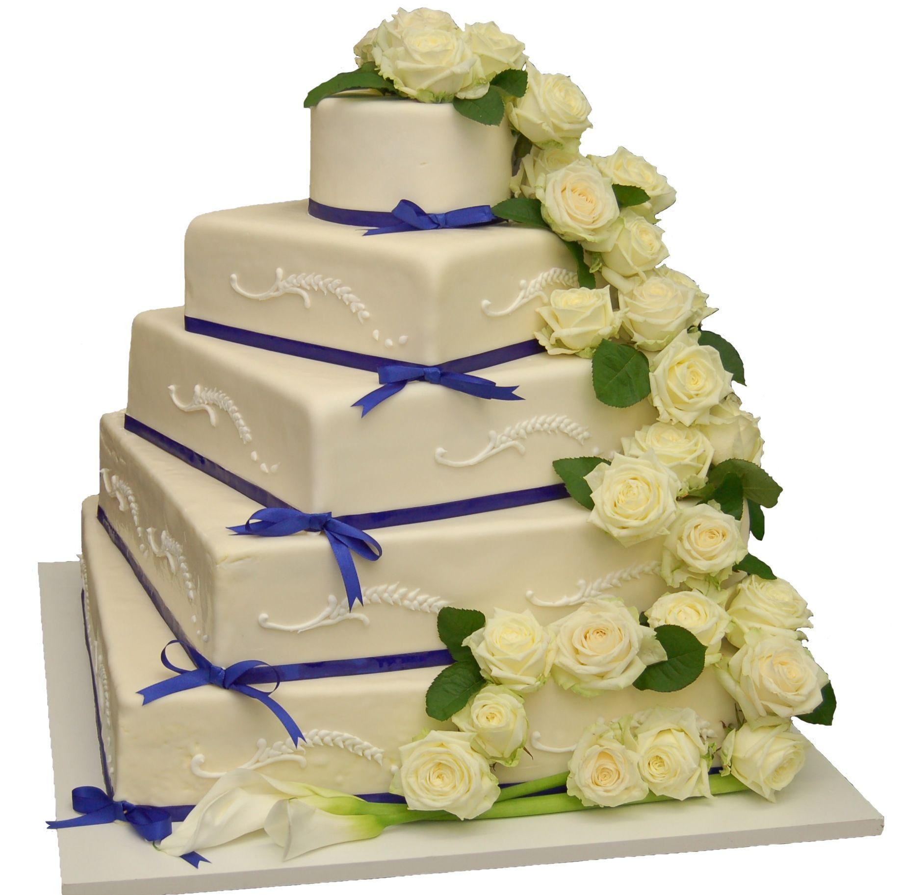 5 st ckige hochzeitstorte mit wei en rosen dekoriert hochzeitstorten pinterest - Hochzeitstorte dekorieren ...