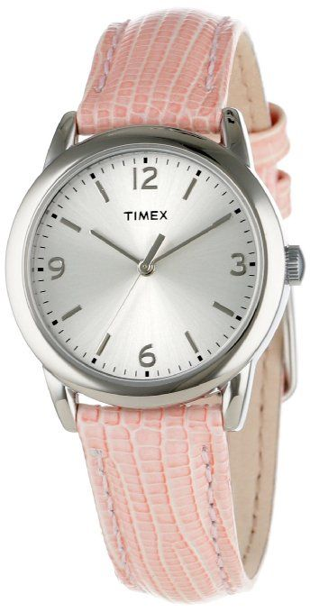 32956a17bf5 Timex Women s T2P1222M Pink Metallic Lizard Patterned Leather Strap Watch   Watches  Amazon.com