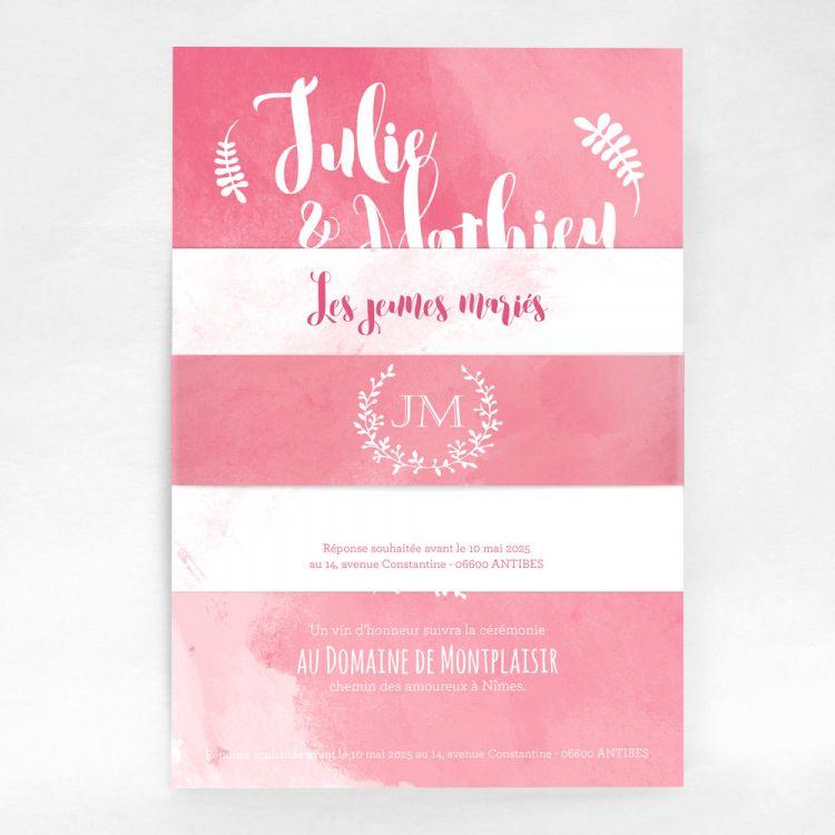 Faire-part Mariage et carte Douceur dAquarelle, rose