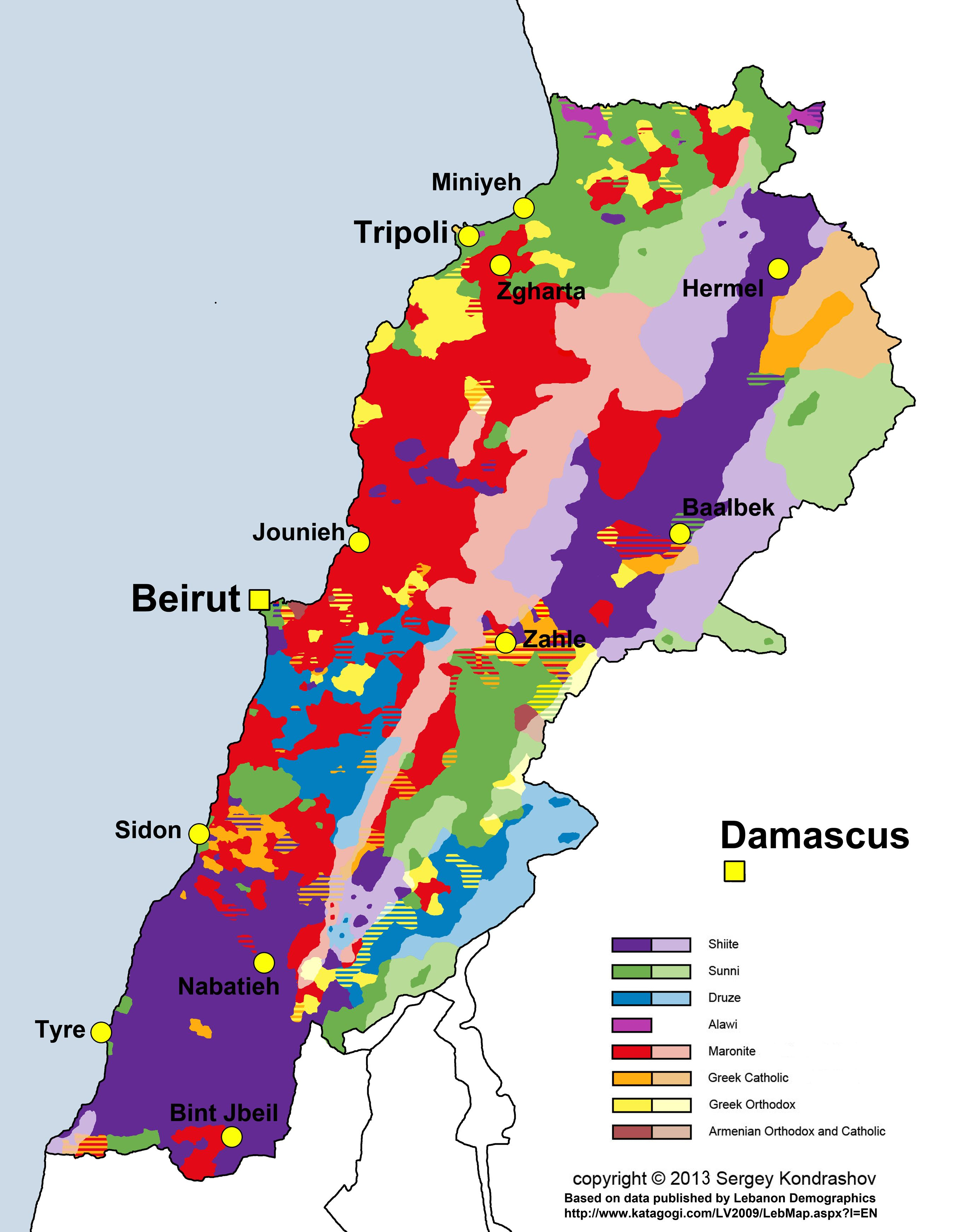distribution of main religious groups of lebanon according