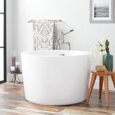 Signature Hardware Siglo 41 X 41 Freestanding Soaking Acrylic Bathtub With Integrated Seat Wayfair In 2020 Japanese Soaking Tubs Soaking Tub Soaking Bathtubs
