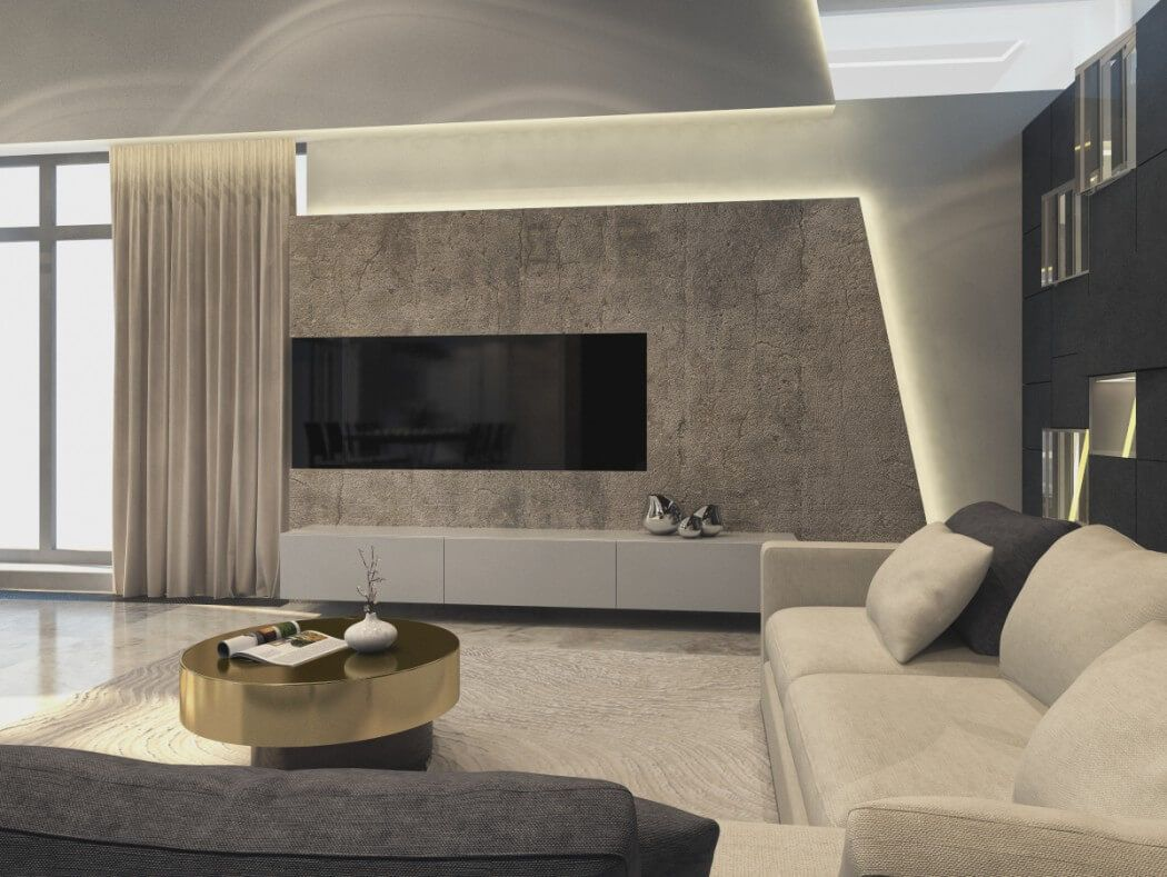 House in moscow by shamsudin kerimov interior - Contemporary wall art for living room ...