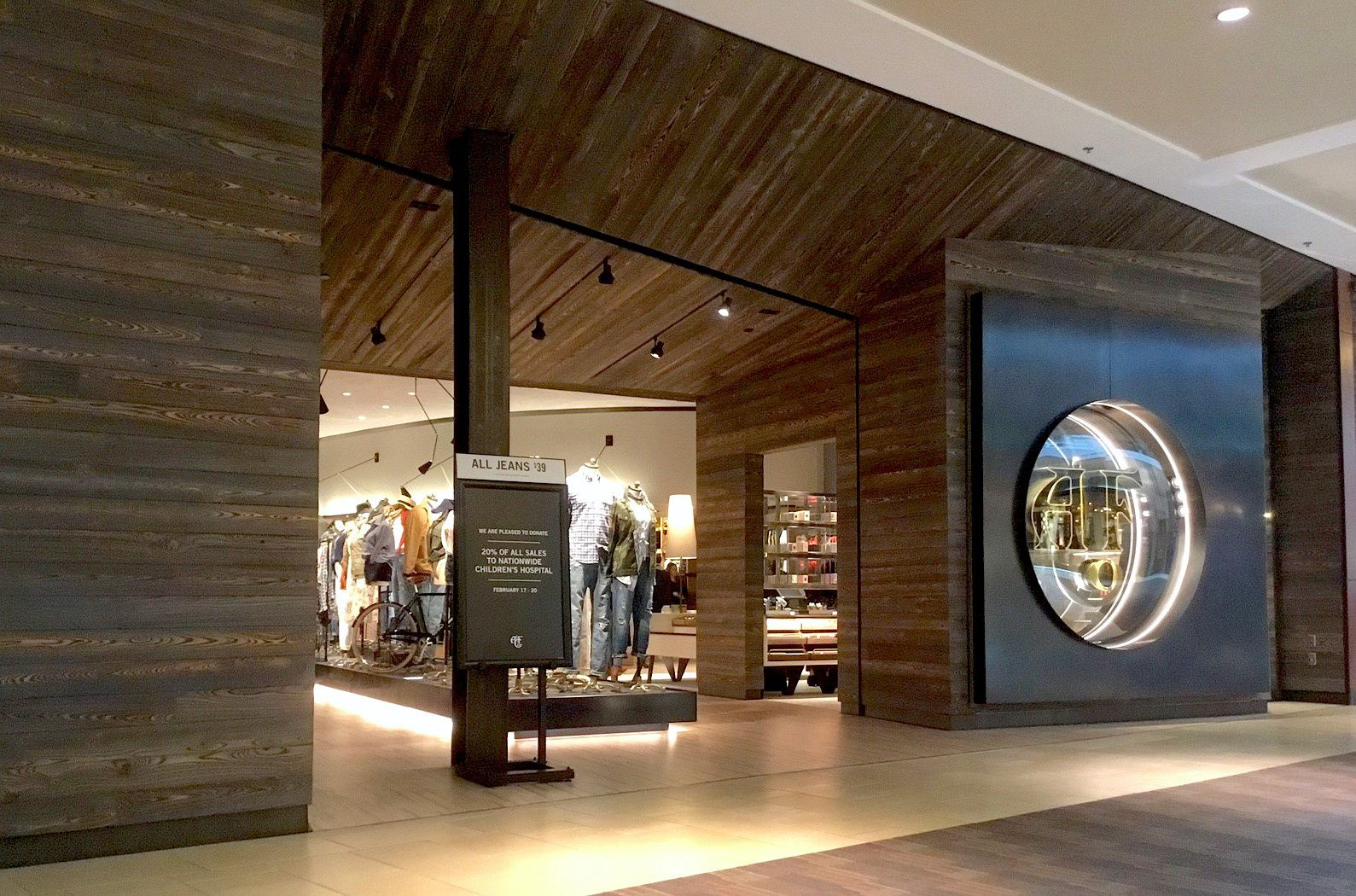 Abercrombie Fitch In Columbus Ohio Used Delta Millwork S Cypress Tiger Smooth Burnt Wood Paneling Learn More About Our Spec Millwork Wood Paneling Columbus
