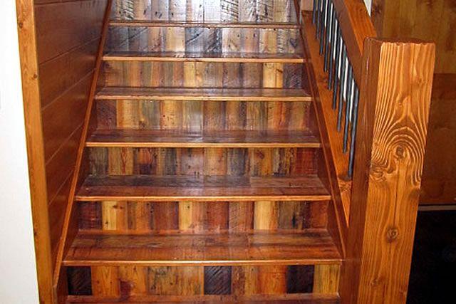 reclaimed wood railings | Reclaimed Wood Stair Treads | Lake Home ...