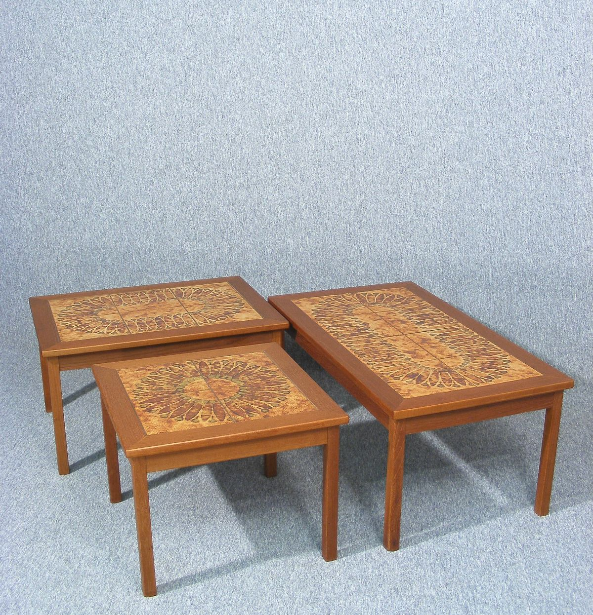 Retro light teak circular glass top coffee table nest of tables by - A Fabulous Vintage Retro Danish Teak And Tile Top Coffee Table By Toften One Of