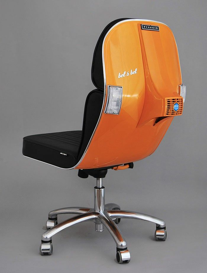 Office Chair-orange recycling ideas vespa old scooter office