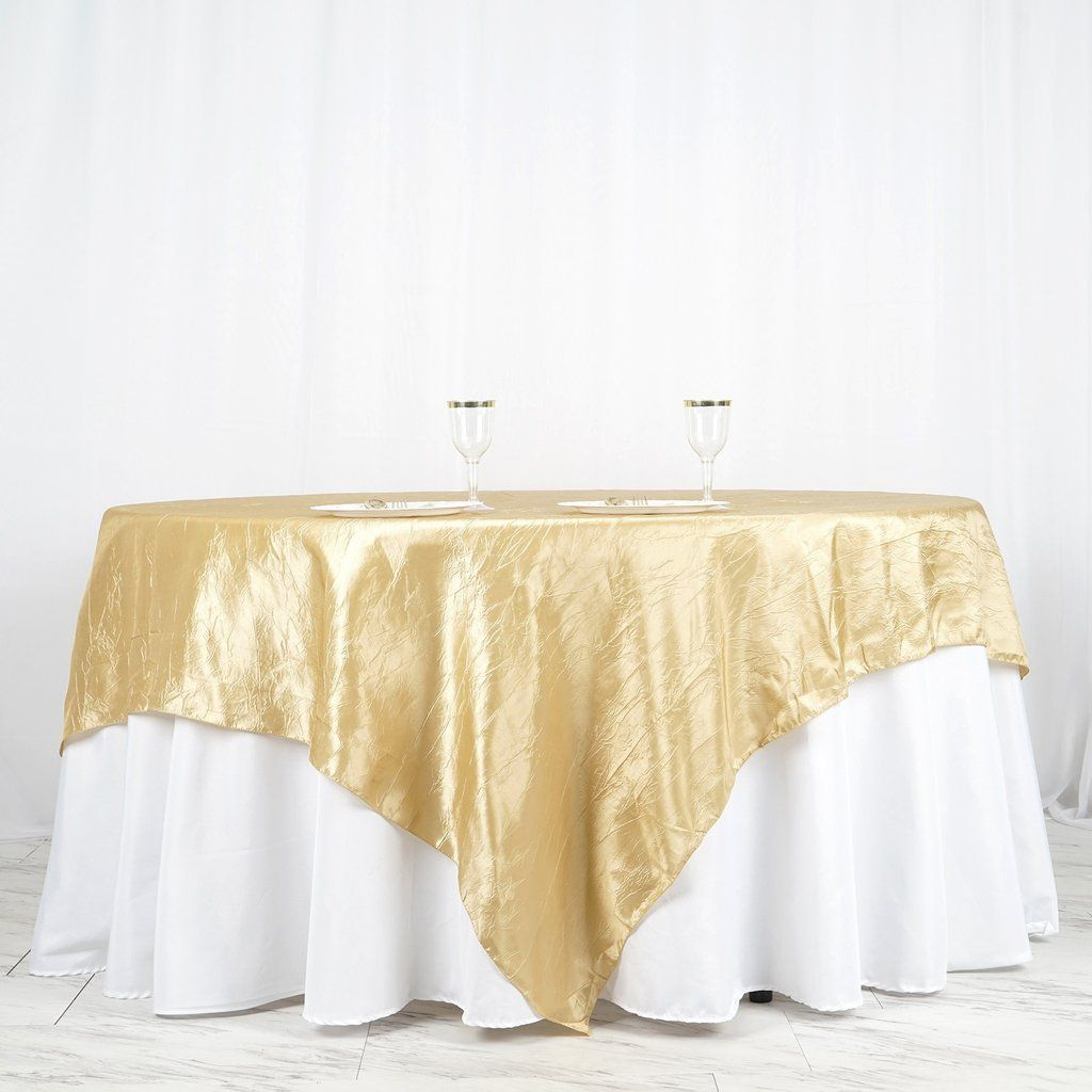 90 X 90 Champagne Crinkle Crushed Taffeta Square Tablecloth Overlay In 2020 Wedding Table Overlays Square Tablecloth Table Overlays
