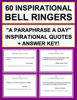 Bell Ringer A Paraphrase Day 60 Inspirational Quote For Student Writing Standards Easy To